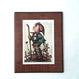 Vintage hummel wood plaque of boy holding a stick